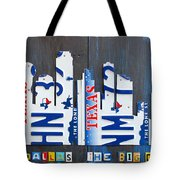 Dallas Texas Skyline License Plate Art By Design Turnpike Tote Bag by Design Turnpike