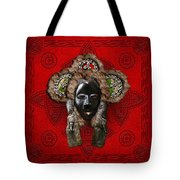 Dan Dean-gle Mask Of The Ivory Coast And Liberia On Red Leather Tote Bag