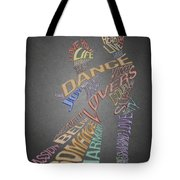 Dance Lovers Silhouettes Typography Tote Bag