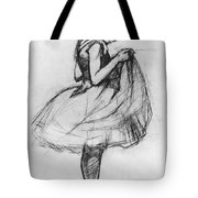 Dancer Adjusting Her Costume And Hitching Up Her Skirt Tote Bag