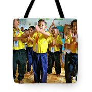Dancing Kindergarten Students At Baan Konn Soong School In Sukhothai-thailand Tote Bag