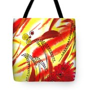 Dancing Lines And Flowers Abstract Tote Bag
