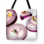 Dancing On Onoin Slices Little People On Food Tote Bag
