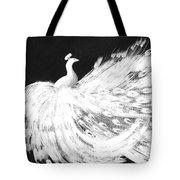 Dancing Peacock Black Tote Bag