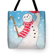 Dancing Snowman Tote Bag