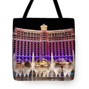 Dancing Waters - Bellagio Hotel And Casino At Night Tote Bag