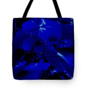 Dark Blue Leaves Tote Bag