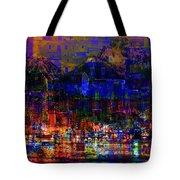 Dark City Lights Cityscape Tote Bag