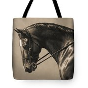 Dark Dressage Horse Aged Photo Fx Tote Bag