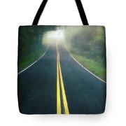 Dark Foggy Country Road Tote Bag