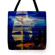 Dark Moonlight With Sails And Seagull Tote Bag