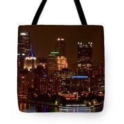 Dark Pittsburgh Skyline Tote Bag