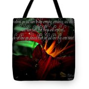 Dark Red Day Lily And Quote Tote Bag