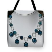 Dark Turquoise Crystal And Faceted Agate Necklace 3676 Tote Bag