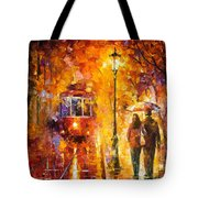 Date By The Trolley - Palette Knife Oil Painting On Canvas By Leonid Afremov Tote Bag