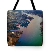 Daugawa River. Riga. Latvia. Rainbow Earth Tote Bag