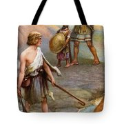David And Goliath Tote Bag by Arthur A Dixon