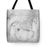 Da Vinci Horse Piaffe Grayscale Tote Bag