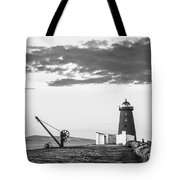 Davit And Lighthouse On A Breakwater Tote Bag