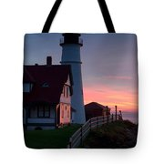 Dawn At Portland Lighthouse Tote Bag