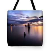 Dawn Breaks Over The Pier Tote Bag