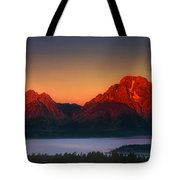 Dawn Light On The Tetons Grant Tetons National Park Wyoming Tote Bag