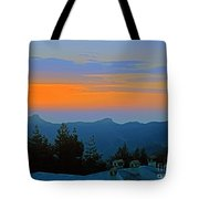 Dawn Over Cross Forest Tote Bag