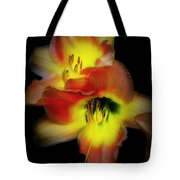 Day Lily On Black Tote Bag