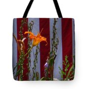 Daylily And Old Glory Tote Bag