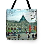Daytime View Of Gum-former State Department Store-in Red Square In Moscow-russia Tote Bag