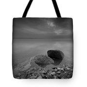 Dead Sea Sunrise Black And White Tote Bag by David Morefield