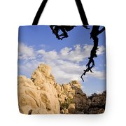 Dead Tree Limb Hanging Over Rocky Landscape In The Mojave Desert Tote Bag