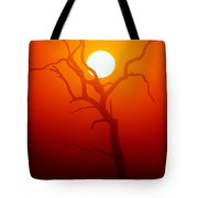 Dead Tree Silhouette And Glowing Sun Tote Bag by Johan Swanepoel