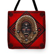 Dean Gle Mask By Dan People Of The Ivory Coast And Liberia On Red Leather Tote Bag