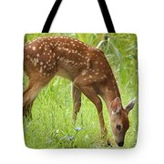 Little Fawn Blue Wildflowers Tote Bag