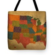 Declaration Of Independence Word Map Of The United States Of America Tote Bag