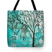Decorative Abstract Floral Birds Landscape Painting Bird Haven I By Megan Duncanson Tote Bag