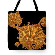 Decorative Golden Floral Fractal Leaves Tote Bag