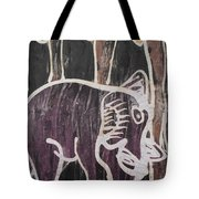 Deep Purple Elephant Painting In The Forest. Tote Bag