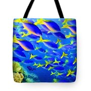 Deep Sea Fish And Diver Tote Bag