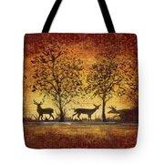 Deer At Sunset On Damask Tote Bag