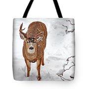 Deer Buck In Snow Tote Bag