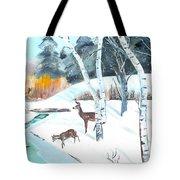 Deer Creek In Winter Tote Bag