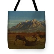 Deer In Mountain Home Tote Bag