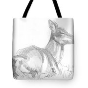 Deer Lying Down Drawing Tote Bag