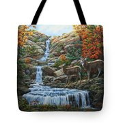 Deer Painting - Tranquil Deer Cove Tote Bag by Crista Forest