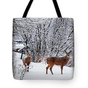 Deers In Winter Tote Bag