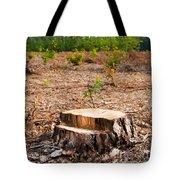 Woods Logging One Stump After Deforestation  Tote Bag