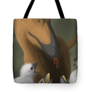 Deinonychus Dinosaur Feeding Its Young Tote Bag