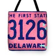 Delaware License Plate Tote Bag